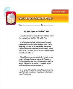 book report example college book report format