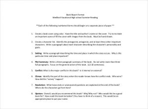 book report example high school book report template