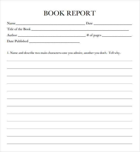 Book Report Format  Template Business