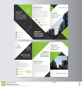 book report sample green black elegance business trifold business leaflet brochure flyer template vector minimal flat design set
