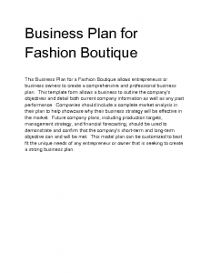 boutique business plan wdvni business plan for fashion boutique