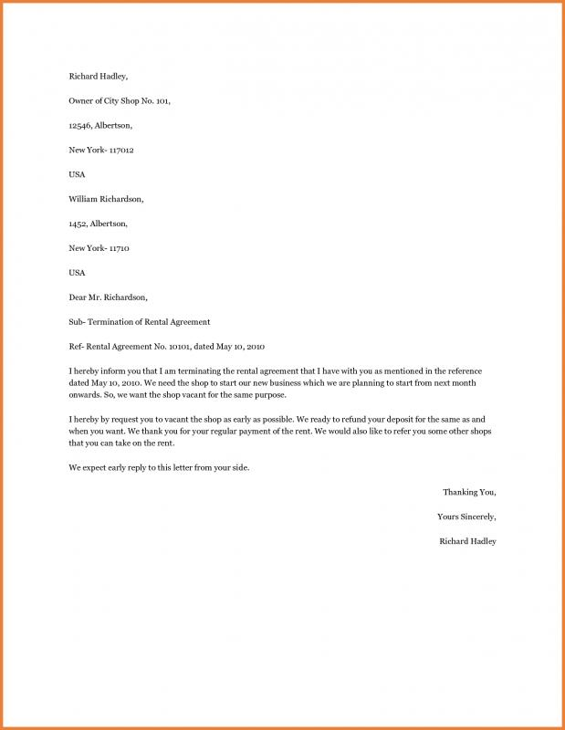 termination of lease letter breaking lease letter template business 25077