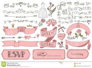 bridal shower invitation templates doodle bridal shower ribbon border badges decor doodles swirl love elements set design template invitation save date rsvp hand