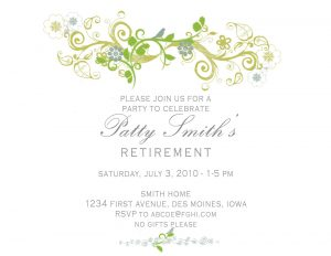 bridal shower invitation templates invitation wording to retirement party