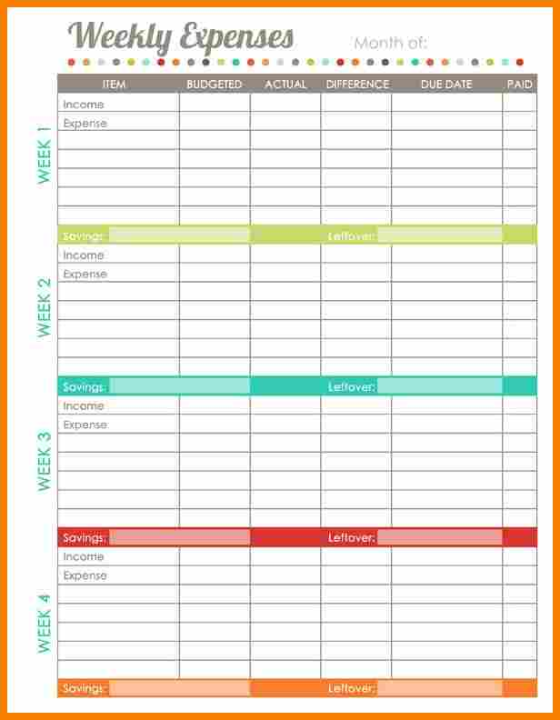 weekly budget planner worksheet