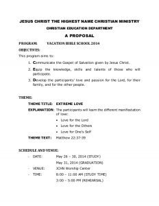 budget proposal templates vbs proposal for church