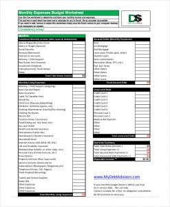 budget worksheet pdf monthly expenses budget worksheet in pdf