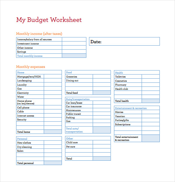 budget worksheet pdf template business