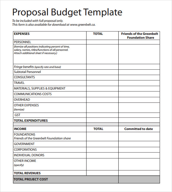 budgetary proposal template