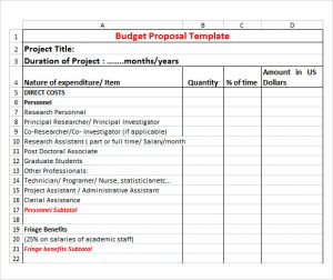 budgetary proposal template budget proposal template excel