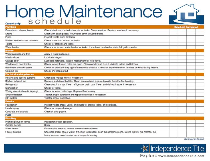 home maintenance spreadsheet