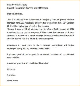 buisness letter format weeks notice letter retail manager resignation letter