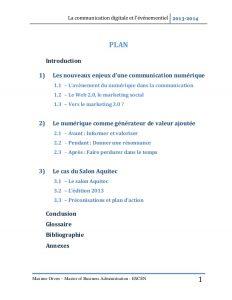 business administration resume la communication digitale et lvnementiel mmoire de fin dtude master