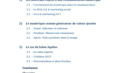 business administration resume la communication digitale et lvnementiel mmoire de fin dtude master