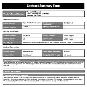 business agreement sample contract summary form