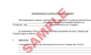 business agreement sample contractor agreement
