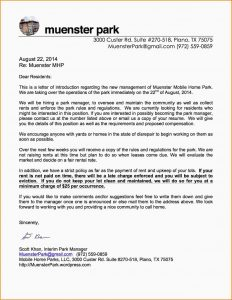 business agreement sample letter to management letter to residents new management