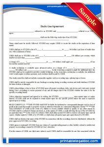 business agreement sample printable studio use agreement form