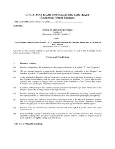 business agreement template christmas light display contract residential and small business