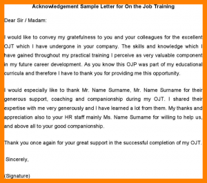 business agreement template acknowledgement for ojt acknowledgement sample letter for on the job training