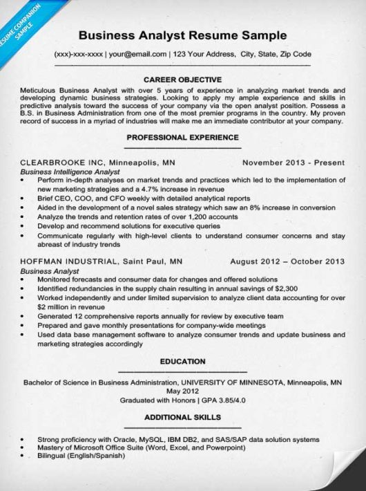 Business Analyst Resume  Template Business