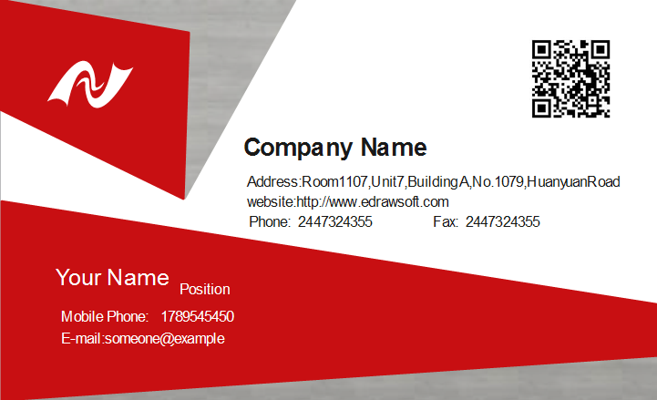 business card address format