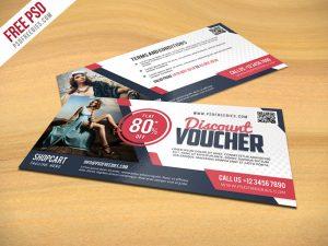 business cards social media discount voucher psd template freebie