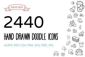 business cards with social media hand drawn doodle icons