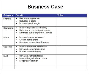 business case template business case example