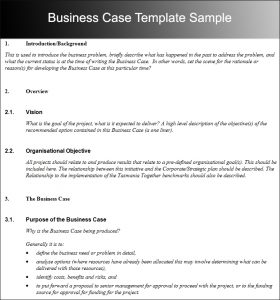 business case template business case template sample