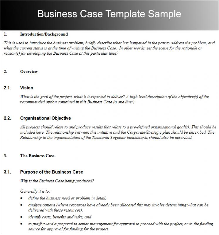 business case template template business. Black Bedroom Furniture Sets. Home Design Ideas