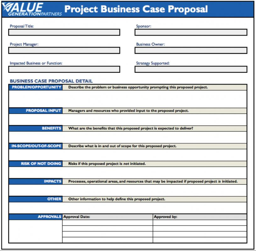 Business Case Template  Template Business