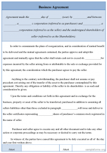 business contract sample business agreement form