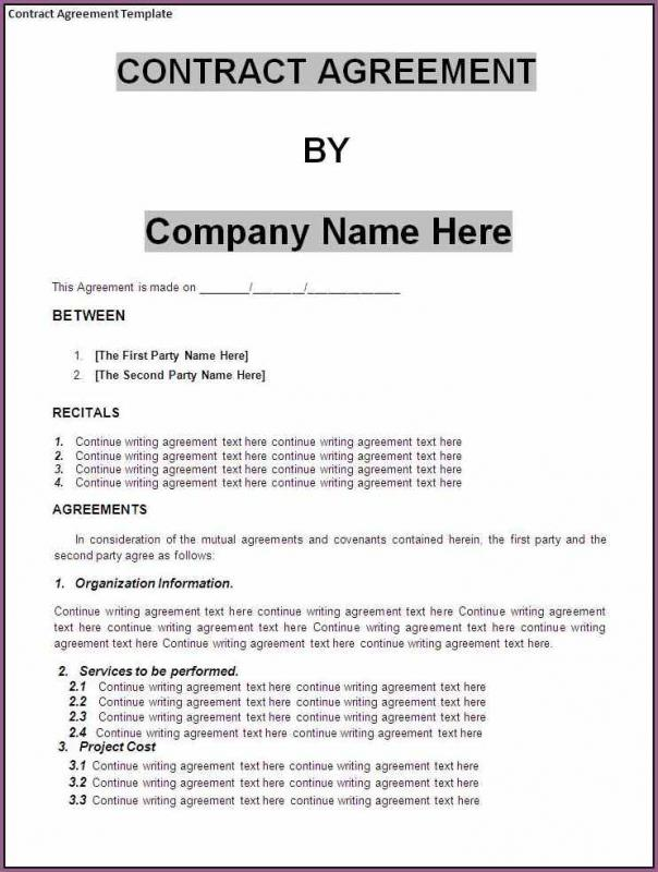 Business Contract Sample  Template Business