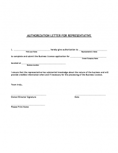 business contract template authorization letter for representative l