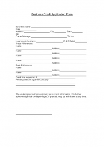 business credit application form business credit application form