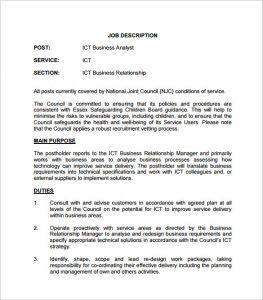business description example ict business analyst job description pdf free download