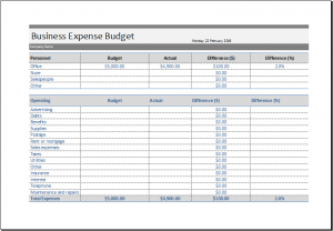 business expense template business expense budget