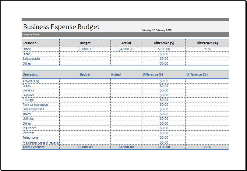 Business Expense Template Template Business