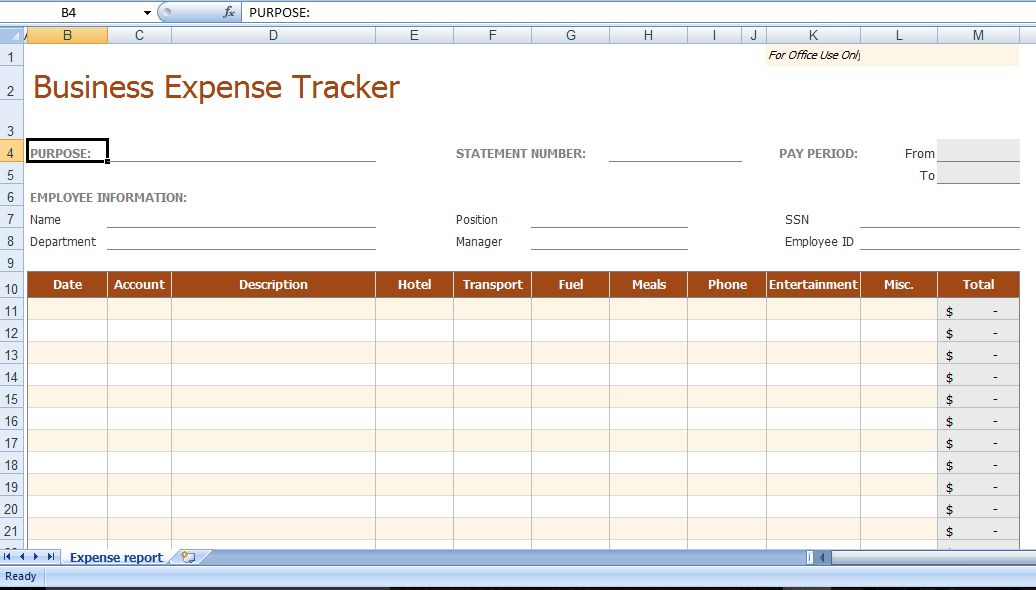 business expense template