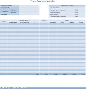 business expense template business travel expense log