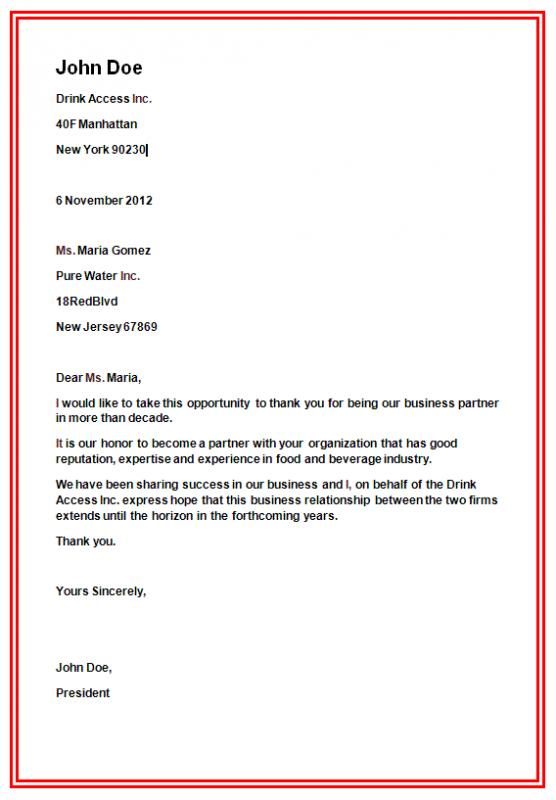 business form letter