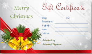 business gift certificate template printable christmas bells gift certificate template