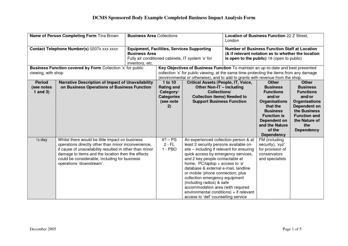 Business impact analysis template template business for Risk and impact analysis template