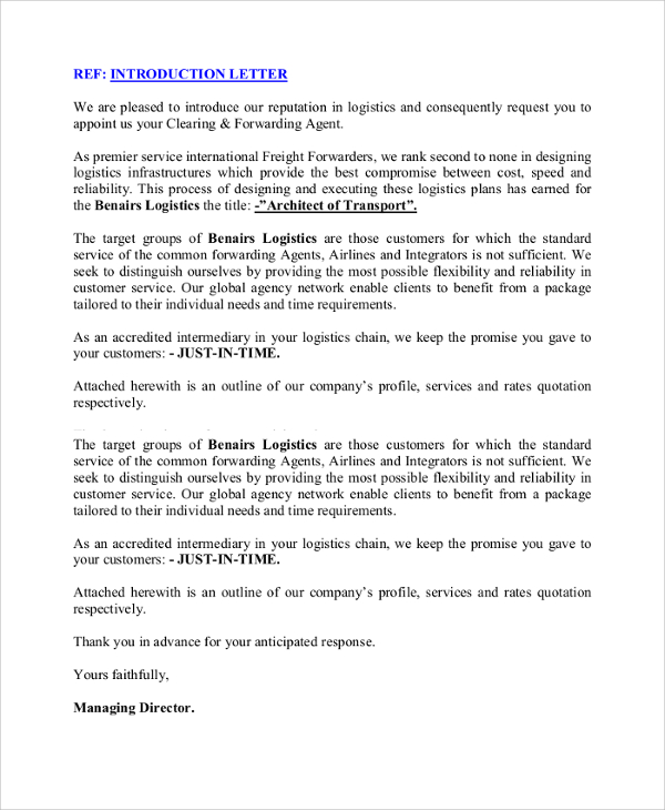 business introduction letter