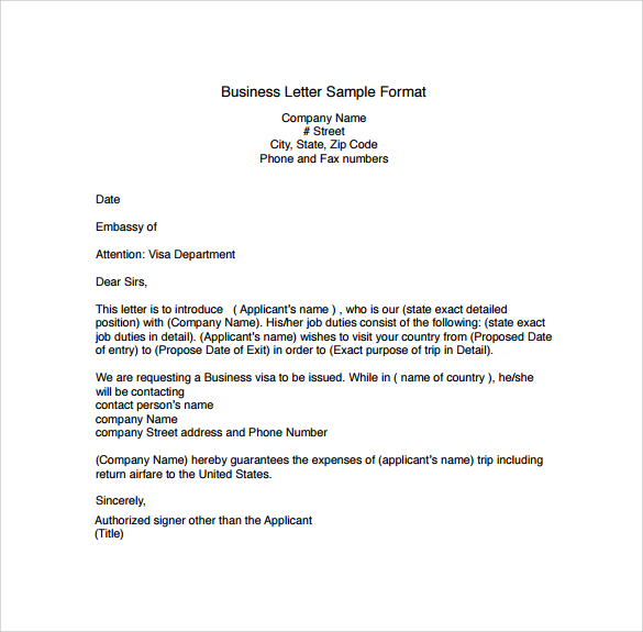 Business Letter Format  Template Business