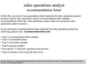 business letter of recommendation sales operations analyst recommendation letter