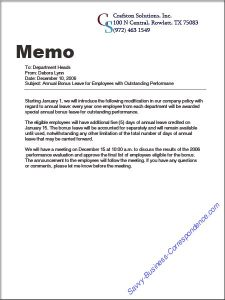 business memo format announcementmemo