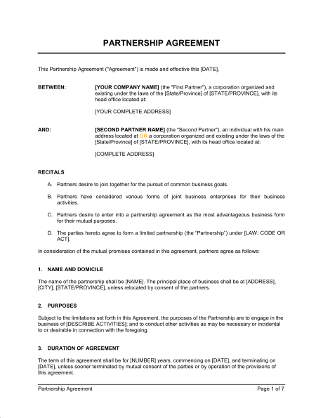 rto partnership agreement template - business partnership agreement template business