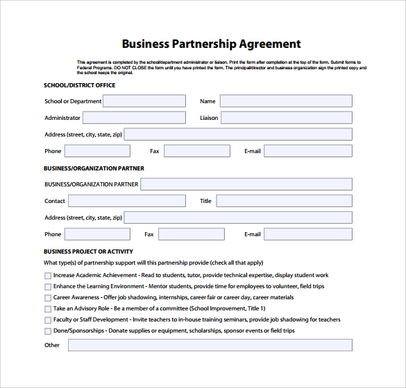 Standard business partnership agreement zrom wajeb Image collections